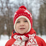 Adorable little boy in winter park Stock Photography