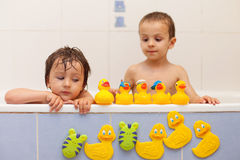 Adorable little boys in bathtub with his rubber duckies Stock Images