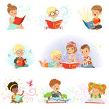 Adorable little boys and girls sitting and reading fairy tales set. Kids fabulous imagination vector illustrations Stock Photography