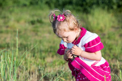 Adorable little child girl on grass on meadow. Royalty Free Stock Photos