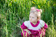 Adorable little child girl on grass on meadow. Royalty Free Stock Photography