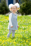 Adorable little child girl on grass on meadow. Summer green nature background. Stock Image