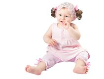 Adorable little child girl  in pink dress  isolated Royalty Free Stock Photos