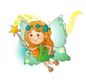 Adorable little fairy with a magic wand Royalty Free Stock Images