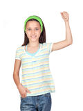Adorable little girl with the arm raised Royalty Free Stock Image