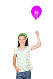 Adorable little girl with the arm raised Stock Images