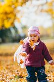 Adorable little girl with autumn leaves in the beauty park Royalty Free Stock Photography