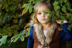 Adorable little girl with autumn leaves in park Stock Image