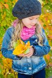 Adorable little girl with autumn leaves in the  park Stock Photo
