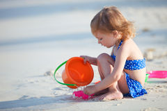 Adorable little girl at beach stock image