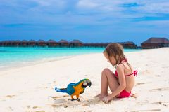 Adorable little girl at beach with big colorful Royalty Free Stock Photography
