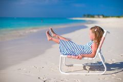 Adorable little girl on beach chair during summer Royalty Free Stock Photo