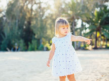 Adorable little girl at the beach Royalty Free Stock Image