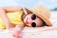 Adorable little girl at the beach Stock Photo