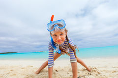 Adorable little girl at beach Stock Photos
