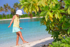 Adorable little girl at beach during summer. Cute little girl at beach during summer vacation Royalty Free Stock Photos