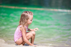 Adorable little girl at beach during summer Stock Photography