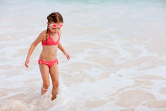 Adorable little girl at beach. On summer vacation Royalty Free Stock Photography
