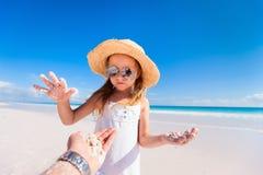 Adorable little girl at beach Stock Photos