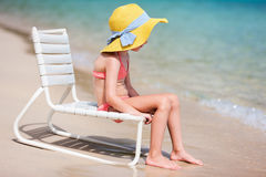 Adorable little girl at beach Stock Photo