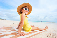 Adorable little girl at beach. During summer vacation Stock Images