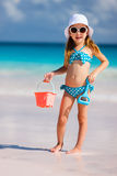 Adorable little girl at beach. During summer vacation Stock Photography
