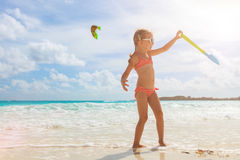 Adorable little girl at beach. During summer vacation Stock Photo