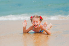 Adorable little girl at beach during summer vacation Royalty Free Stock Images