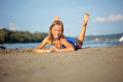 Adorable little girl at beach during summer vacation stock image