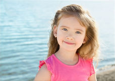 Adorable little girl on beach vacation Royalty Free Stock Image