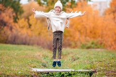 Portrait of adorable little girl outdoors at beautiful autumn day stock image