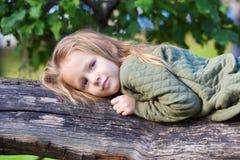 Adorable little girl on big tree in beautiful Stock Image