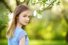 Adorable little girl in blooming apple tree garden on beautiful spring day royalty free stock image