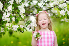 Adorable little girl in blooming apple tree garden on beautiful spring day Royalty Free Stock Images