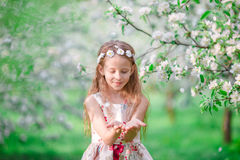 Adorable little girl in blooming apple tree garden on spring day Stock Photography