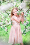 Adorable little girl in blooming cherry tree garden outdoors Stock Images