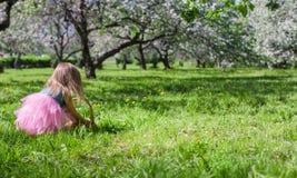 Adorable little girl in blossoming apple garden Stock Image