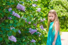 Adorable little girl in blossoming lilac flower Royalty Free Stock Photography