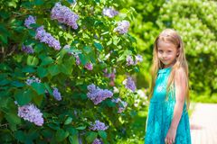 Adorable little girl in blossoming lilac flower Stock Photo
