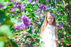 Adorable little girl in blossoming lilac flower Royalty Free Stock Image