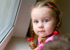 Adorable little girl with braids Royalty Free Stock Photos