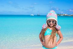 Adorable little girl came from winter to summer at Stock Photo