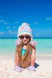Adorable little girl came from winter to summer Royalty Free Stock Photos