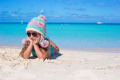 Adorable little girl came from winter to summer at Royalty Free Stock Photography