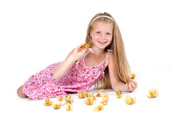 Adorable little girl with Cape gooseberry Stock Photo