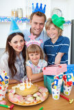 Adorable little girl celebrating her birthday Royalty Free Stock Photography