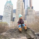 Adorable little girl in Central Park at New York Royalty Free Stock Images