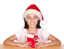 Adorable little girl with Christmas cup Stock Photography