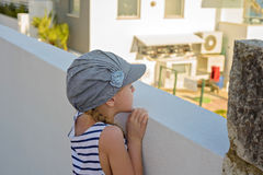 Adorable little girl in the city Stock Images