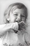 Adorable little girl closeup. Adorable cheerful little girl closeup Stock Photo
